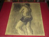 [ André LANDAUD 1924-2013] Naked Female Large Drawing Charcoal-Pastel Paper Yel
