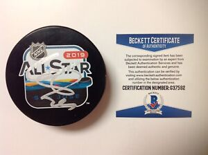 Nathan MacKinnon Signed Autographed 2019 All Star Hockey Puck Beckett BAS COA a