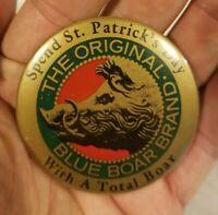 Rare Blue Boar Brand Original Henry Weinhards Beer Button Pin St Patrick's Day
