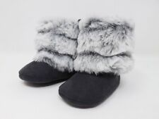 Stepping Stones Girls Faux Fur Gray Boots - Size 3 / 6-9m