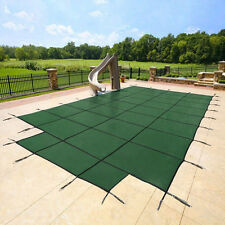 Yard Guard 16 x 32 + 8' Center End Steps Pool Safety Cover, Green | DG163258S
