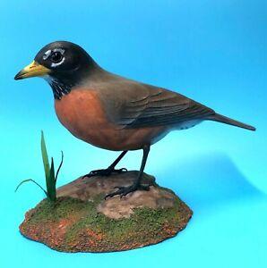 "Birdhug Studio American Robin Song Bird Decoy Wood Carving Lifesize 9"" Signed"