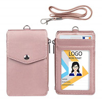 Womens Cute Candy Color Bifold ID Badge Holder with Lanyard Wallet Choose Color