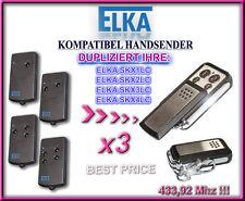 3 X ELKA SKX1LC / SKX2LC, SKX4LC kompatibel handsender, KLONE, 3 fernbedienungen