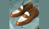 Handmade Men's Brown White Leather Shoes, Loafers & Slip Ons dress leather shoes