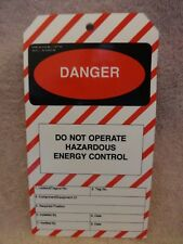 Danger Do Not Operate Hazardous Energy Control Osha Approved Box Of 25 ,Coated