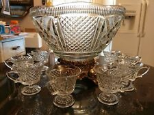 Stunning Antique Punch Bowl With Matching Cups & Metal Base