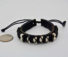 Shark Teeth Tooth Leather Wristband Men Bracelet Biker Rocker Surfer Boho Black