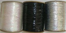 "Metallic Mylar Iris 1/8"" Wide 3000 Ypp Spool Yarn Black - White - Silver (G59B)"