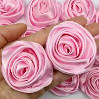 "Lot 50pc Pink 50mm 2"" Satin Ribbon Rose Flowers DIY Wedding Bouquet Decoration"