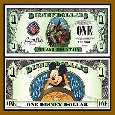 "Disney $1 Dollar, 2014 ""A"" Series, 5 Digit Serial, Splash Mountain Uncirculated"