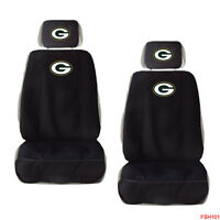 New NFL Green Bay Packers Car Truck 2 Front Seat Covers with Head Rest Covers