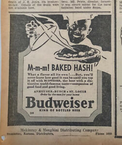 1935 newspaper ad for Budweiser Beer - Mmm Baked Hash! top it off with Budweiser