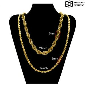 Rope Chain Necklace Gold Filled 18 K, 60 cm, available in 3 and 5 mm Thickness
