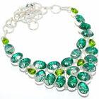 """Green Rutile Quartz, Citrine Silver Jewelry Necklace 18"""" MQR-2917"""