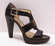 New Coach Ivanah Chestnut Brown Platform High Heels Python Emb Leather Heels 8.5