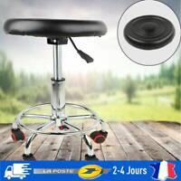 Tabouret à roulettes avec pied en acier pivotable à 360° réglable à Roulettes