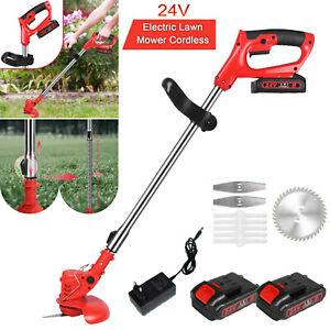 24V Cordless Electric Lawn Mower Yard Garden Grass Edger Trimmer String Cutter
