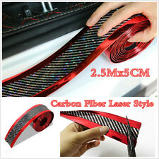 Red Carbon Fiber Laser Style Anti-Scratch Protector Strip For Door Sill Panels