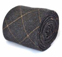 Frederick Thomas Designer Tweed Wool Mens Tie - Dark Grey & Orange Check Skinny