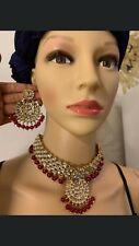 Indian Choker Bridal Wedding Gold Plated Kundan  Jewelry Necklace Earrings Set