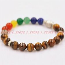 Fashion Manually Create Tiger's Eye Jade Tibet Silver Buddha Elastic Bracelet