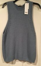 NWT VINCE Women's Small,Pebble, Cotton RNDNCK Sleeveless Cable Sweater/Vest $295