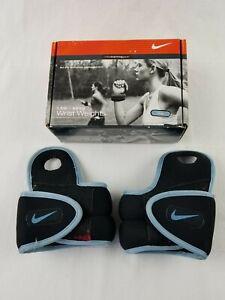 Nike Wrist Weights Dri-Fit Pair 1.5 lb Each Thumb Hole Black And Blue