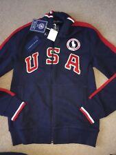NUOVO Polo Ralph Lauren Donna Blu Navy Cerniera Giacca in Pile USA Olimpiadi Piccolo