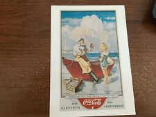 Coca Cola  50th Anniversary POST CARD REPRINT CONTINENTAL SIZE 1886 1936