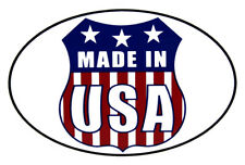Wholesale Lot of 6 Made in USA Shield White Oval Decal Bumper Sticker