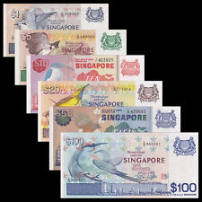 [Second] Singapore SET 6 PCS, 1 5 10 25 50 100 DOLLARS, Bird, A-UNC