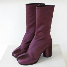 MAISON MARTIN MARGIELA split toe purple bordeaux satin tabi boots 37 / 7 NEW