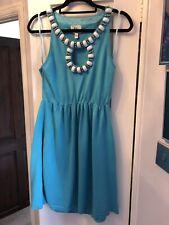 Vestido De Verano Milly NEW York Azul Con Cuentas De Algodón Tamaño L