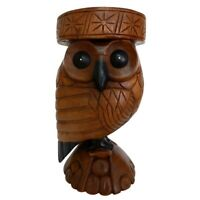 Wooden Owl Side Table Stool Solid Acacia Wood Lamp Table Plant Stand Hand Carved