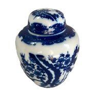 """Vintage Chinese Blue Porcelain Ginger Jar 5"""" With Lid Cobalt Blue Floral Motif"""