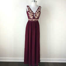 New Nordstrom Soieblu S Burgundy maxi Dress Boho Formal Embroidered Floral open
