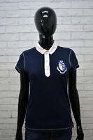 Polo RALPH LAUREN Donna Taglia S Shirt Manica Corta Maglia Blu T-Shirt Cotone