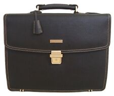 Brooks Brothers Leather Buffalo Classic Briefcase, Brown with Laptop Sleeve