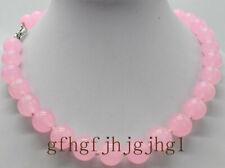 Genuine 12mm Natural Pink Rose Quartz Gemstone Round Beads Necklace 18''