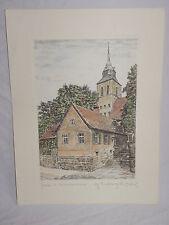 Piedra presión Greven st. Martin iglesia litografía ORIG. aguafuerte m. Bloch (6225)
