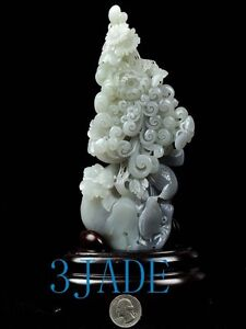 Natural Hetian Nephrite Jade Flower Birds Carving / Sculpture w/ certificate