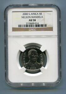 NGC AU 58 South Africa Year 2000 5R Nelson Mandela R5 Coin AU58 Tata Madiba
