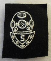 """WWII US NAVY SCUBA DIVER """"S""""  DISTINGUISHING MARK ON BLUE POINTED BREASTPLATE"""