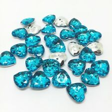 LOT 10 BOUTON FORME COEUR 12 x 13mm STRASS A COUDRE COUTURE GILET LAYETTE TRICOT