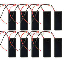 "10Pcs New 3V Holder Case Box for 2 AAA/3A Battery Black Switch ON OFF+ 6"" Leads"