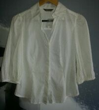 JACQUI E WHITE POLKADOT PUFFY SLEEVE LITE 3/4 BUTTON DOWN SHIRT SIZE 6 $10
