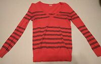 Women's J Crew Striped v-neck Sweater coral and blue  Size XXS