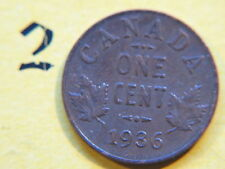 1936 Canada Small 1c (One) Cent Coin,