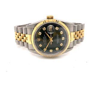 Rolex datejust 16233 36mm,green diamond dot dial